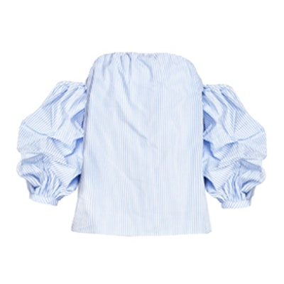 Ruched Balloon Sleeve Stripe Top