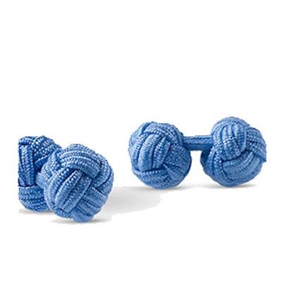 Silk Knot-on-Bar Cuff Links