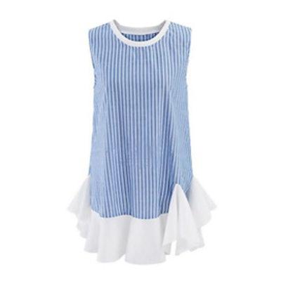 Ruffled Hem Vertical Striped Shift Dress