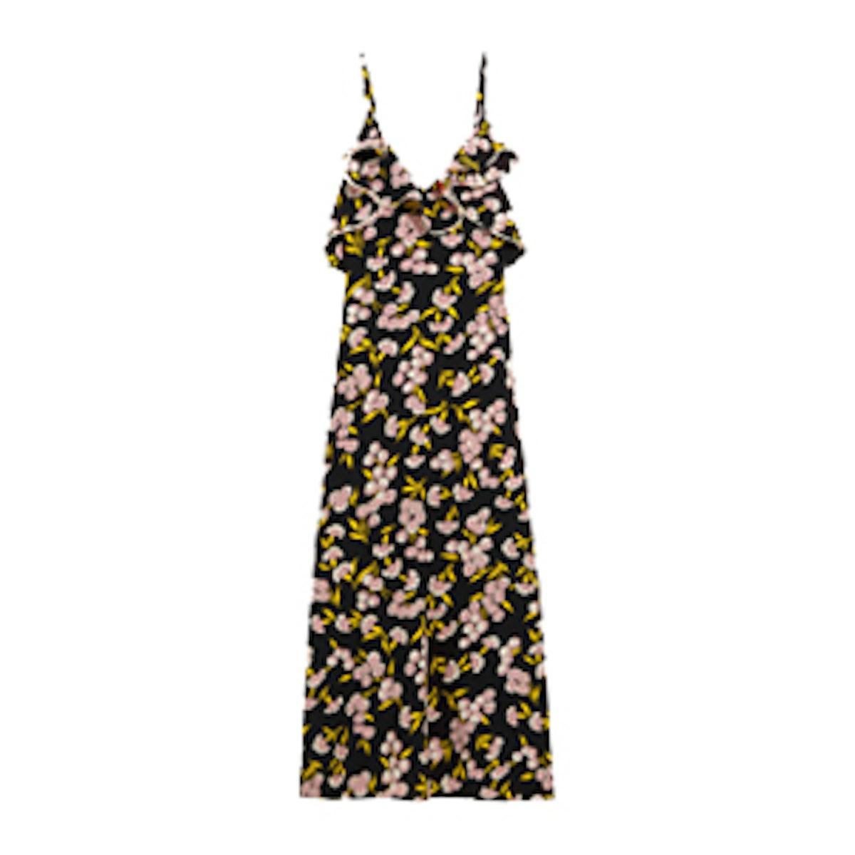 Ruffled Floral-Print Silk-Satin Maxi Dress