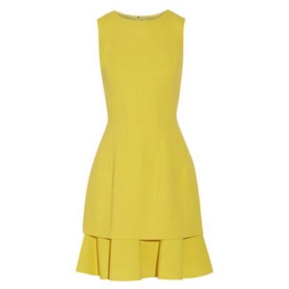 Ruffled Stretch Wool-Blend Crepe Dress