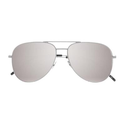 Aviator-Style Silver-Tone Mirrored Sunglasses