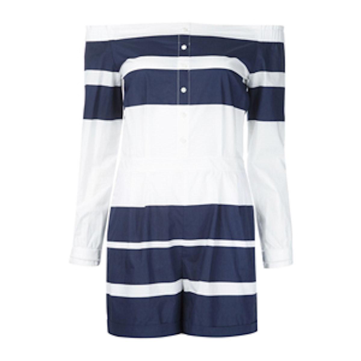 Striped Off-Shoulder Playsuit