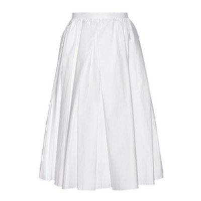Pleated Cotton-Poplin Midi Skirt