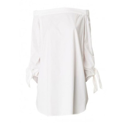 Satin Poplin Off-The-Shoulder Tunic