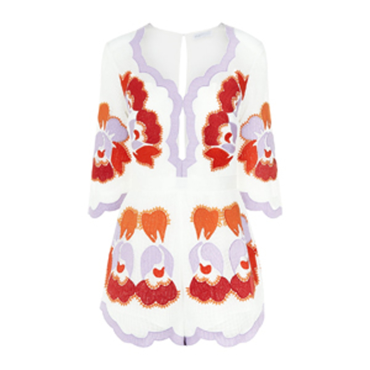 White Embroidered Never Ever Playsuit