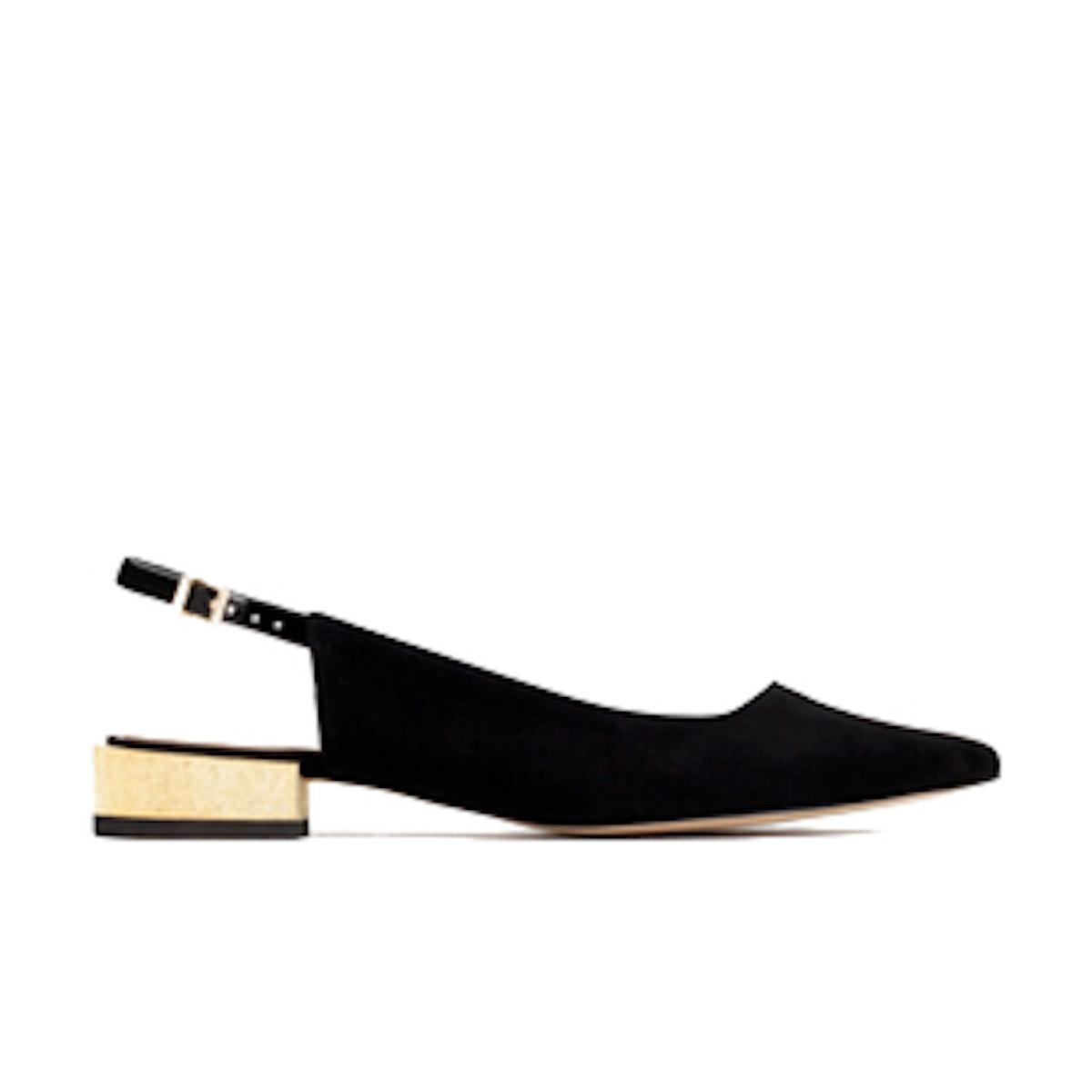 Golden Heel Leather Shoes