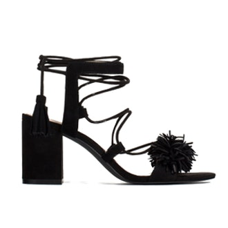 High Heel Leather Lace-Up Sandals