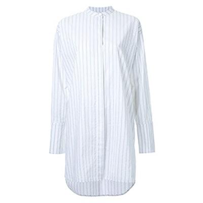 Collar Band Striped Shirt