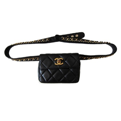 Chain Hook Belt Quilted Leather Waist Bag