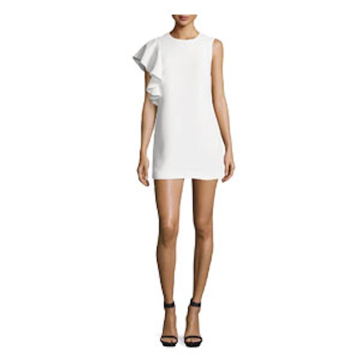Luca Crepe Ruffle-Trim Mini Dress