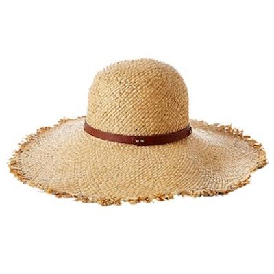 Straw Raw Edge Floppy Hat