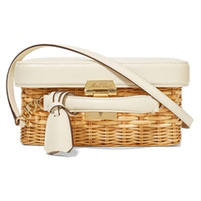 Grace Rattan and Textured-Leather Shoulder Bag
