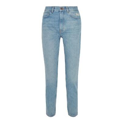 Mimi Distressed High‐Rise Slim‐Leg Jeans
