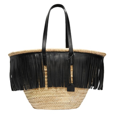 Panier Large Fringed Leather-Trimmed Raffia Tote