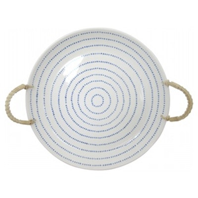 Stoneware Tray with Rope Handles