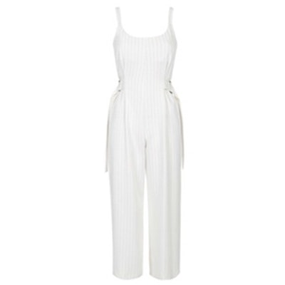 Belted Pinstripe Jumpsuit