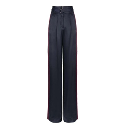 Belted Satin Wide Leg Trousers