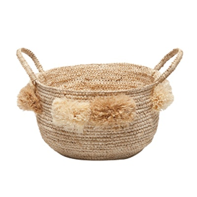 Round Basket with Handles and Pompoms