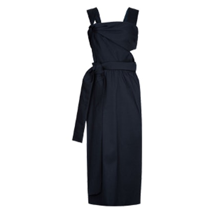 Navy Satin Knotted Sleeveless Dress