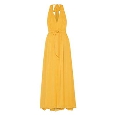 Kassidy Pleated Crepon Maxi Dress
