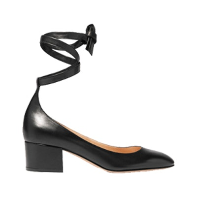 Leather Ankle-Wrap Pump