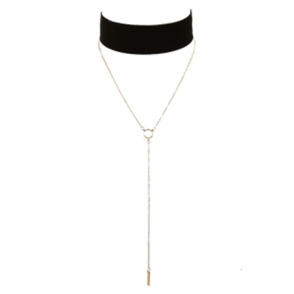 Velvet Choker & Lariat Necklace