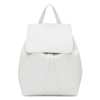 White Leather Mini Backpack