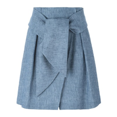 Belted Chambray Skirt