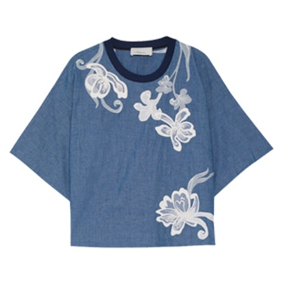 Silk-Trimmed Embroidered Cotton-Chambray Top