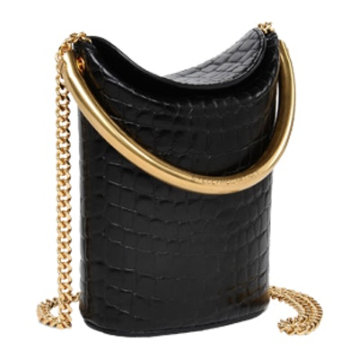 Black Alter Croc Shoulder Bag