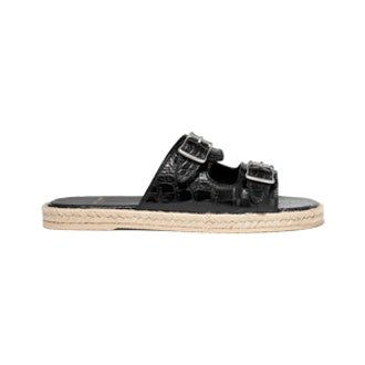 Croc-Effect Leather Espadrille Slides