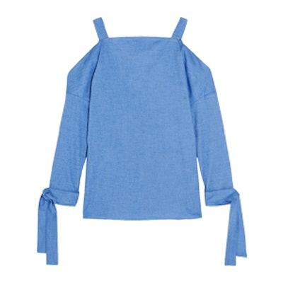 Cutout Stretch-Cotton Chambray Top