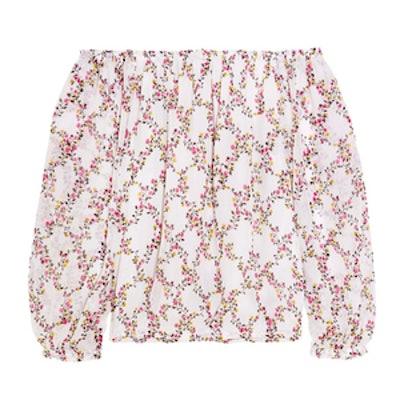 Kamber Off-The-Shoulder Floral-Print Silk-Chiffon Top