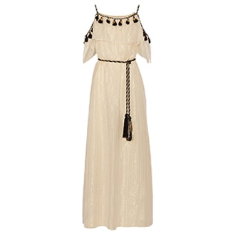 Off-The-Shoulder Tasseled Maxi Dress