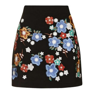 Star Flower Embroidered Miniskirt