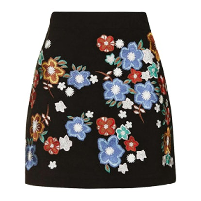 Star Flower Embroidered Miniskirt