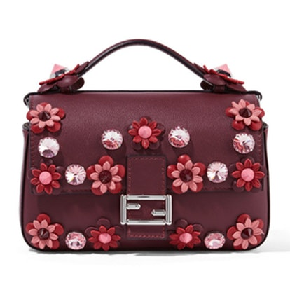 Double Baguette Micro Appliqued Leather Shoulder Bag
