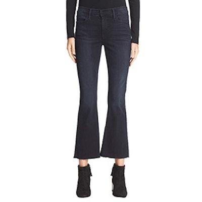 Le High Flare Raw Edge High Rise Crop Jeans