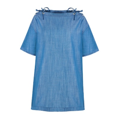 Denim Chambray Lace Up Dress