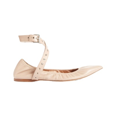 Love Latch Point-Toe Leather Ballet Flats