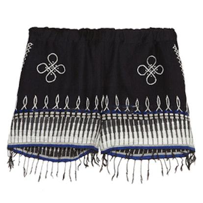 Wubit Fringed Embroidered Cotton-Blend Shorts