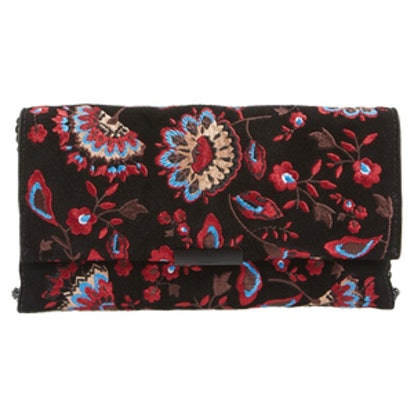 Embroidered Suede Tab Clutch