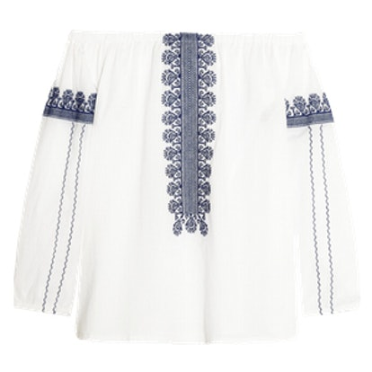 Folktale Off-The-Shoulder Embroidered Cotton Poplin Top