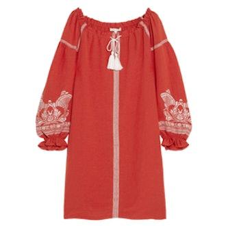 Embroidered Slub Crepe Mini Dress