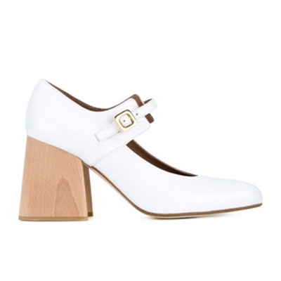 Patent Leather Mary Janes With Wooden Block Heel