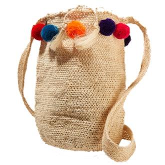 Pompom-Embellished Woven Fique Shoulder Bag