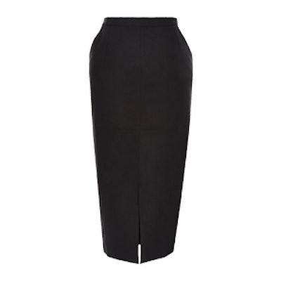 Black Stretch Split Front Pencil Skirt