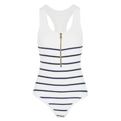 Nantucket Striped Stretch-Cloqué Swimsuit