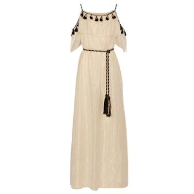 Off-The-Shoulder Tasseled Cotton And Silk-Blend Maxi Dress